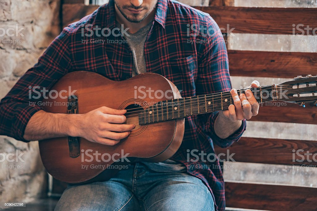 Playing perfect riff. stock photo