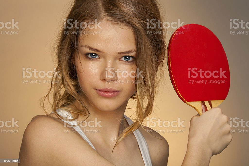 Playing ping pong royalty-free stock photo