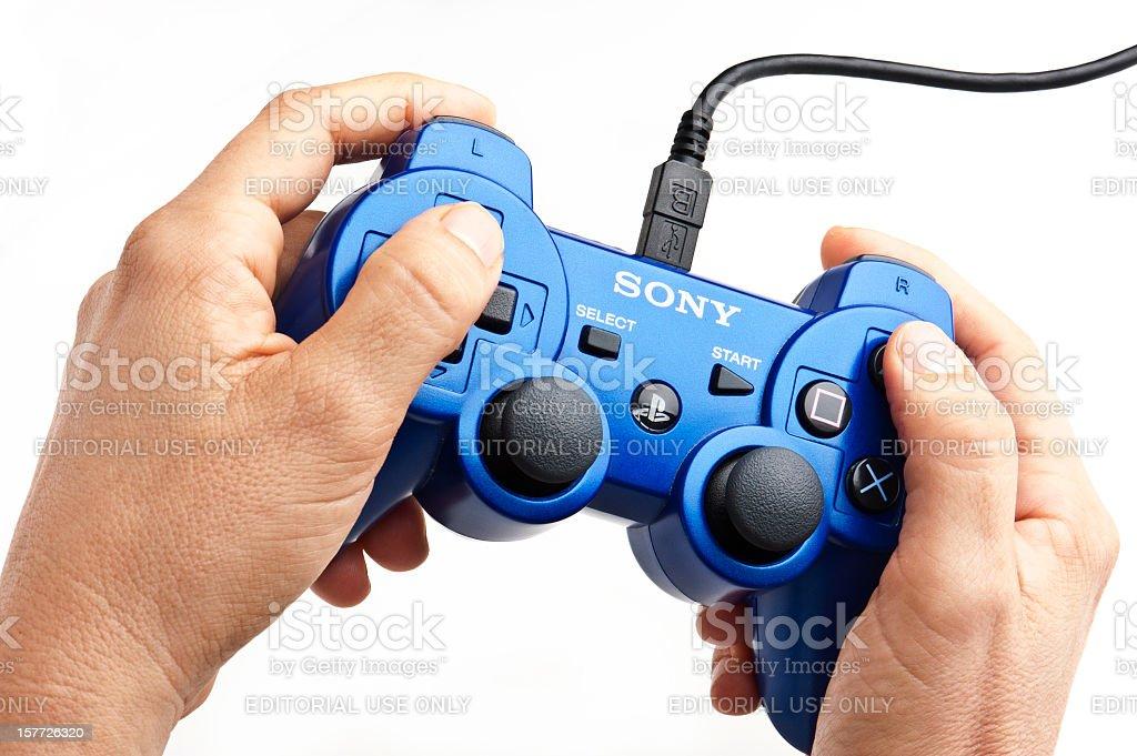 Playing Playstation stock photo