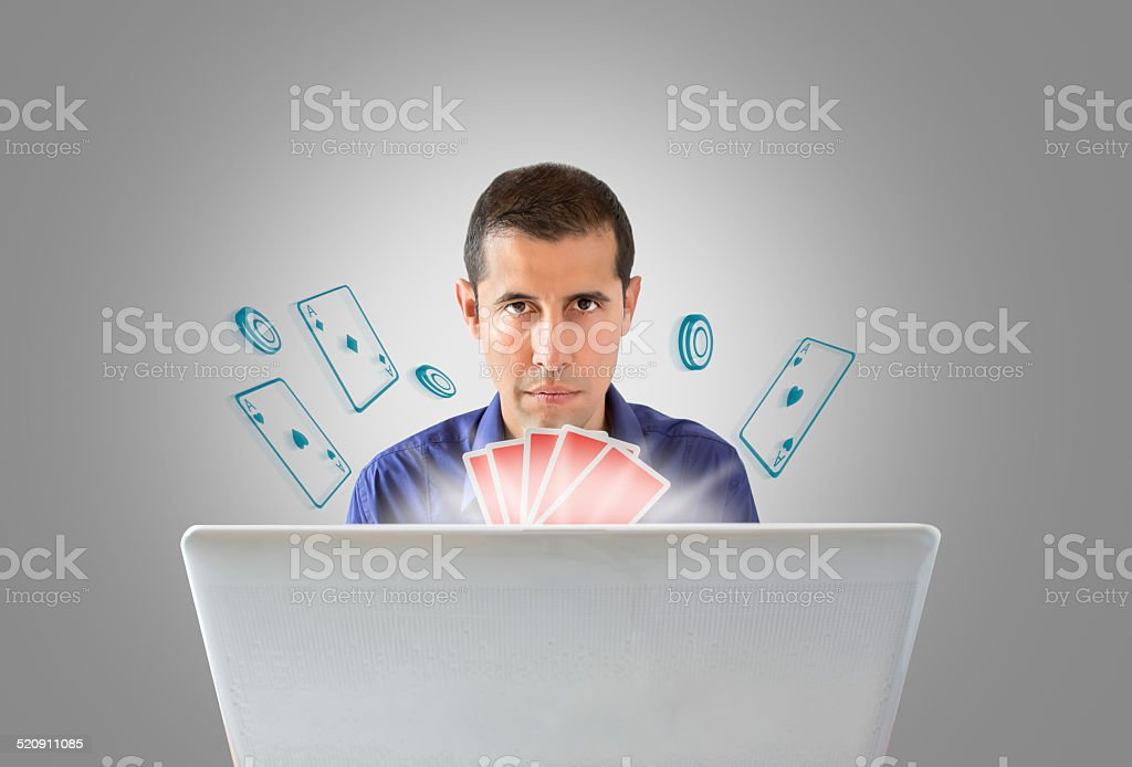 playing poker online with gray background stock photo