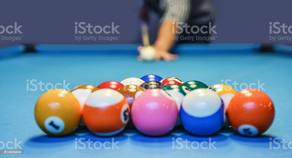 Playing pool close up stock photo