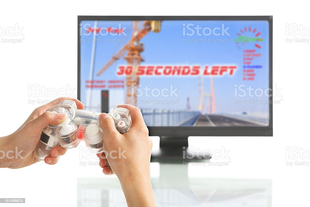 Playing racing game royalty-free stock photo