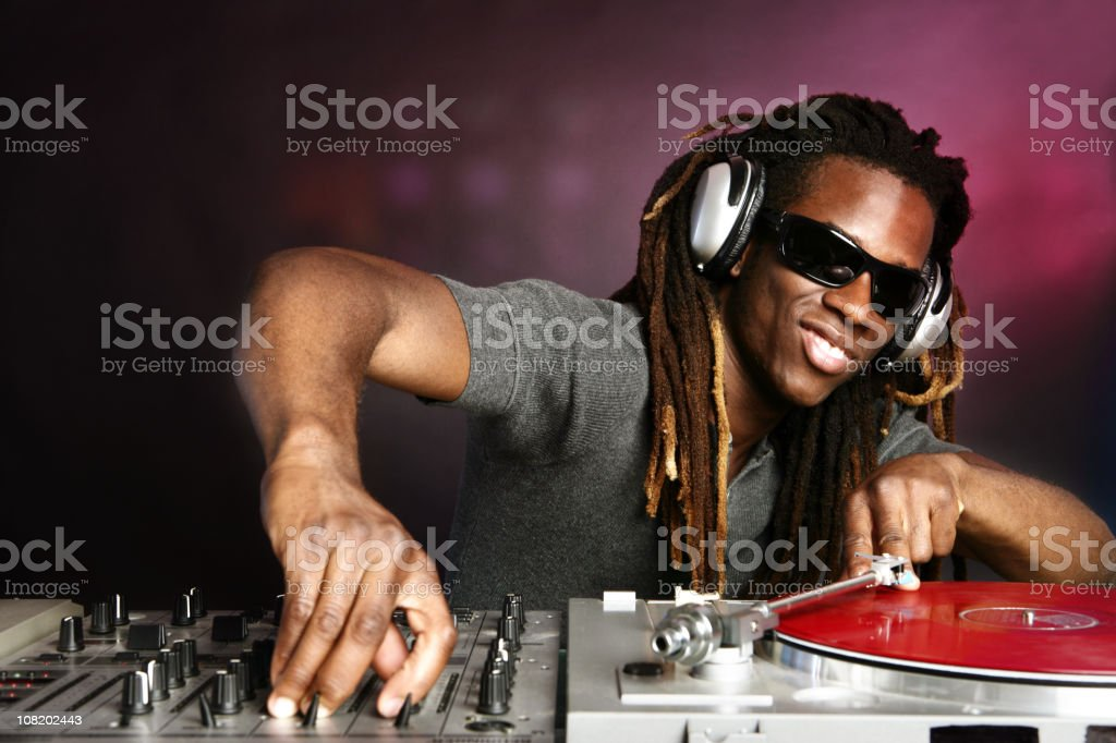 DJ Playing Record royalty-free stock photo