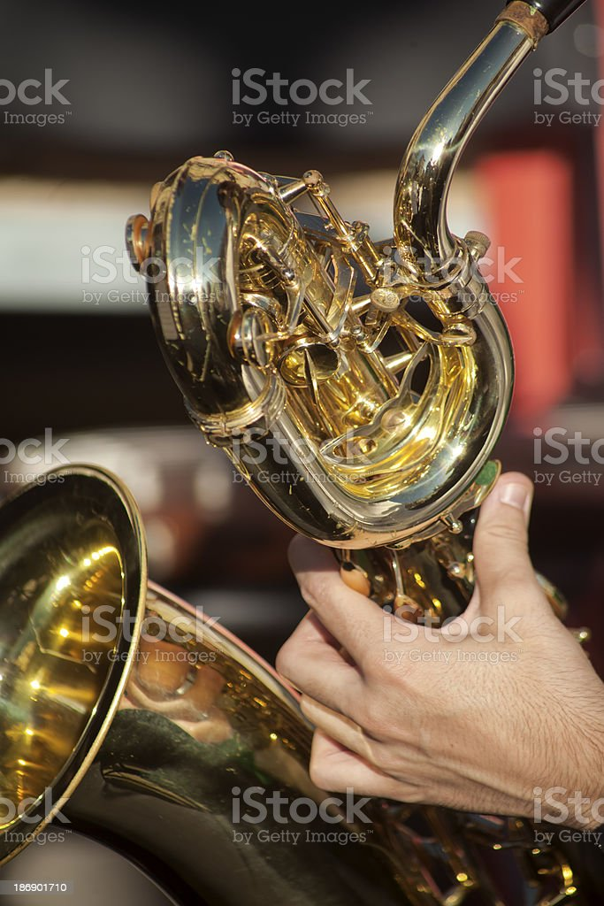 Playing saxophone stock photo