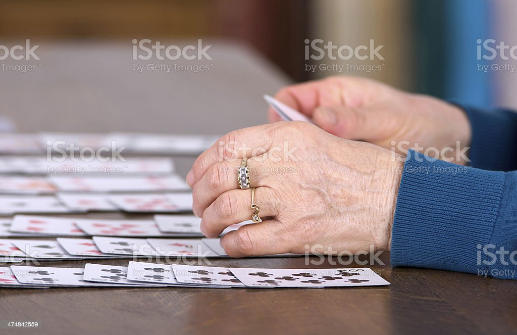 Playing solitaire stock photo