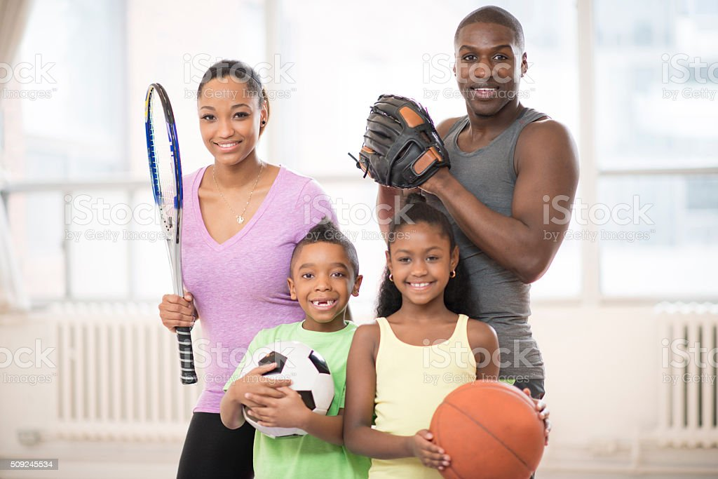 Playing Sports at the Gym stock photo