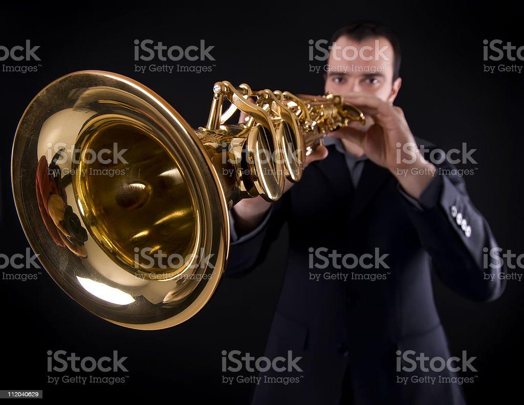 playing strait saxophone stock photo