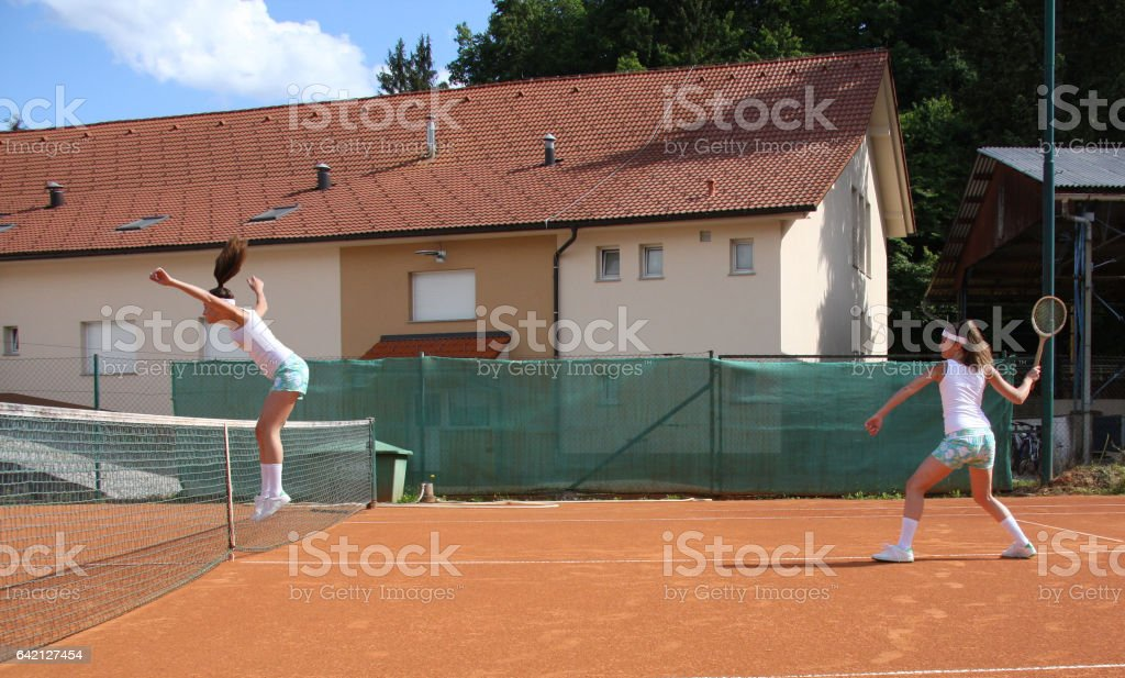 Playing tennis with myself stock photo