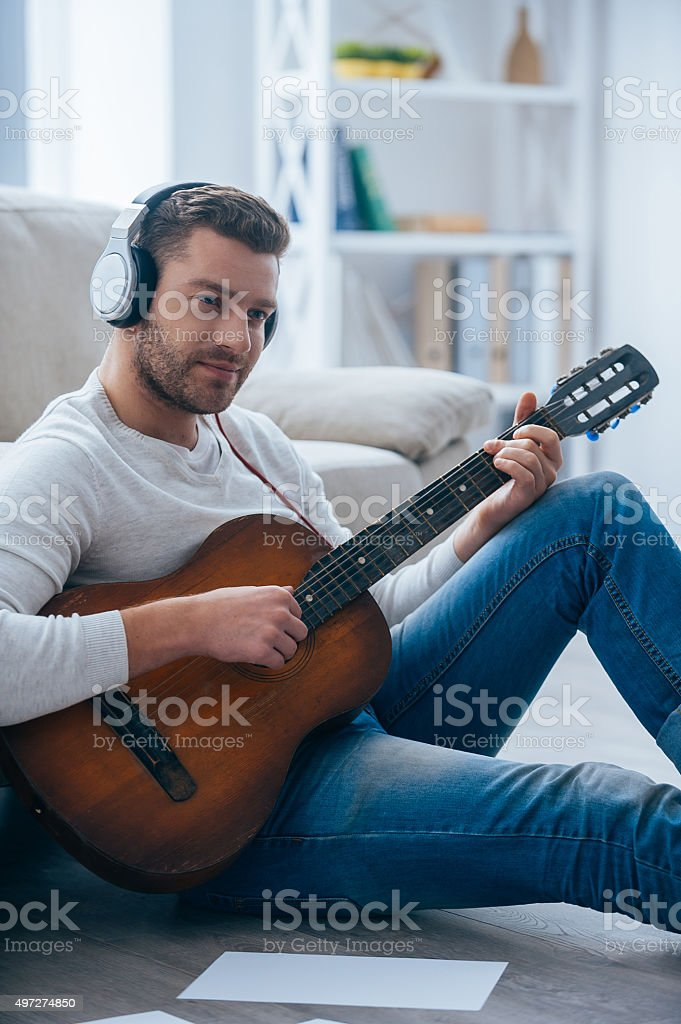 Playing that melody. stock photo