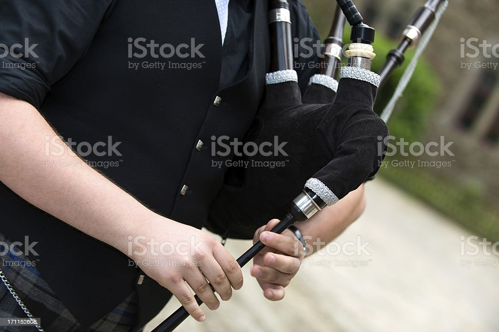 Playing the Bagpipes stock photo