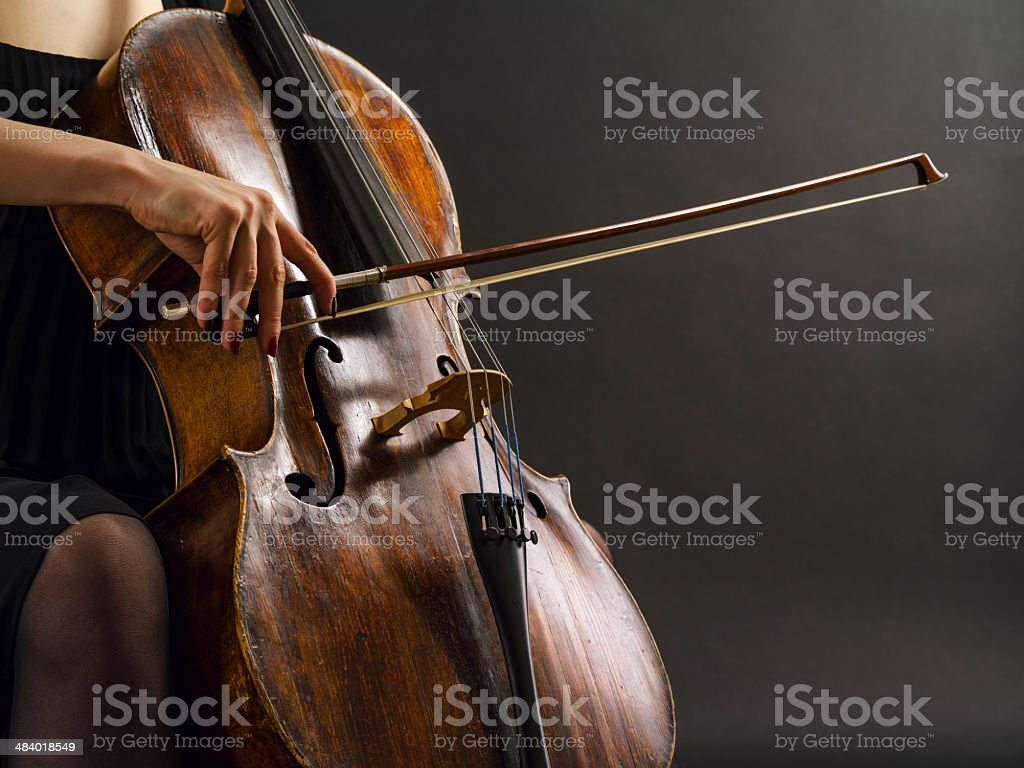 Playing the cello stock photo