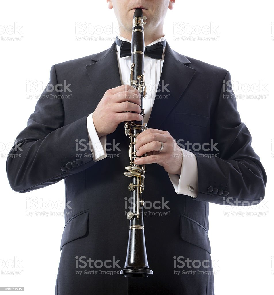 playing the clarinet stock photo