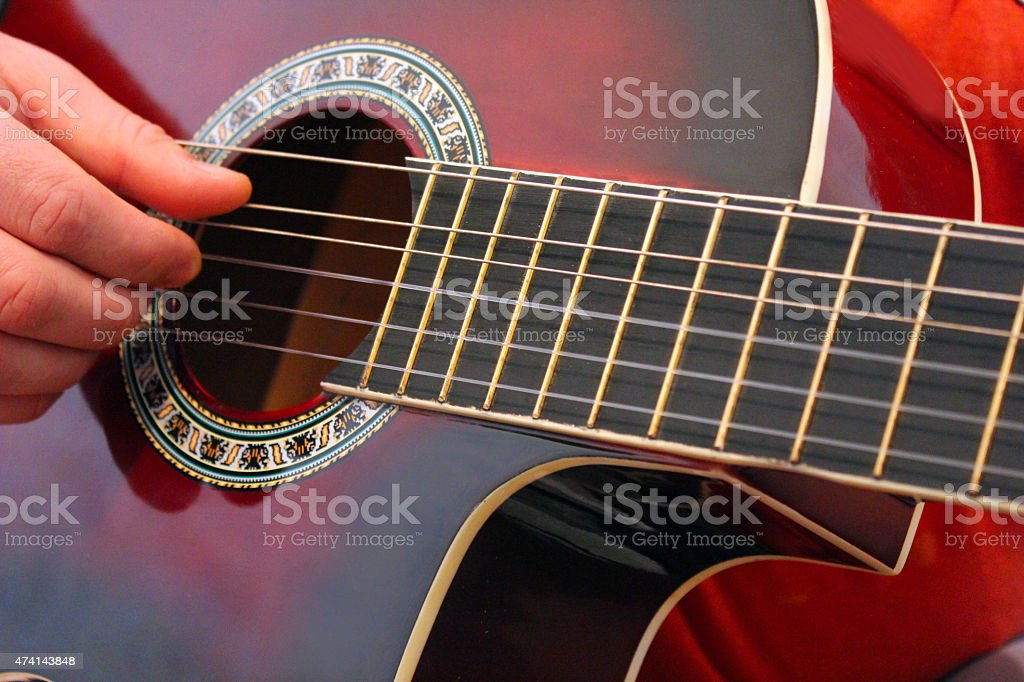 playing the classical guitar stock photo