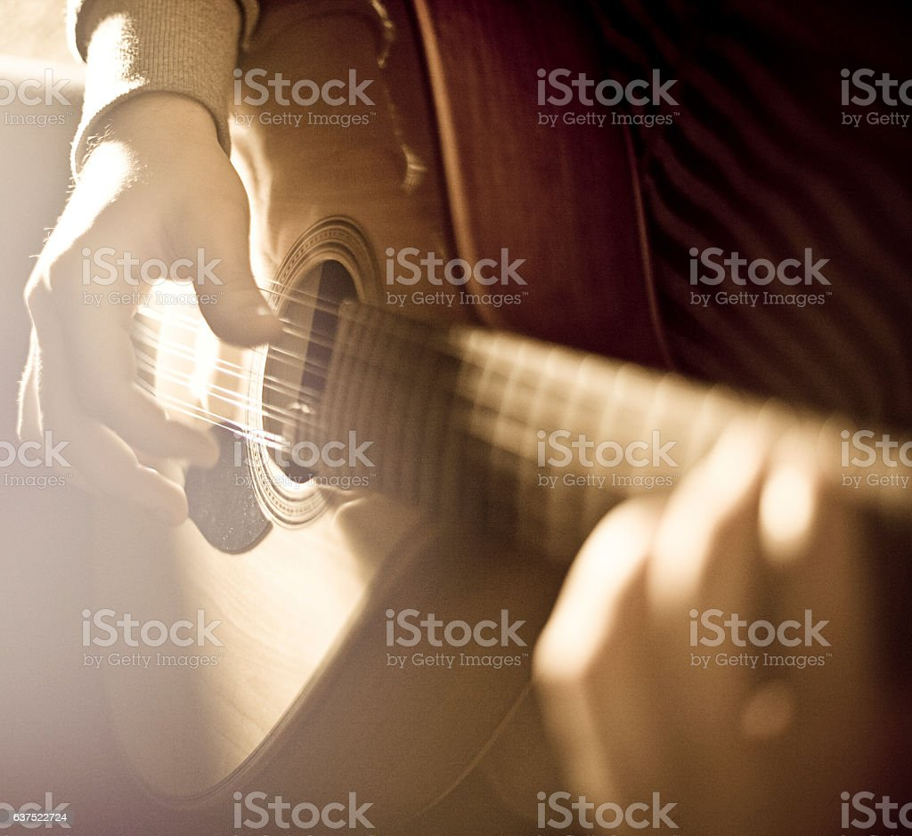 Playing the Mandolin stock photo