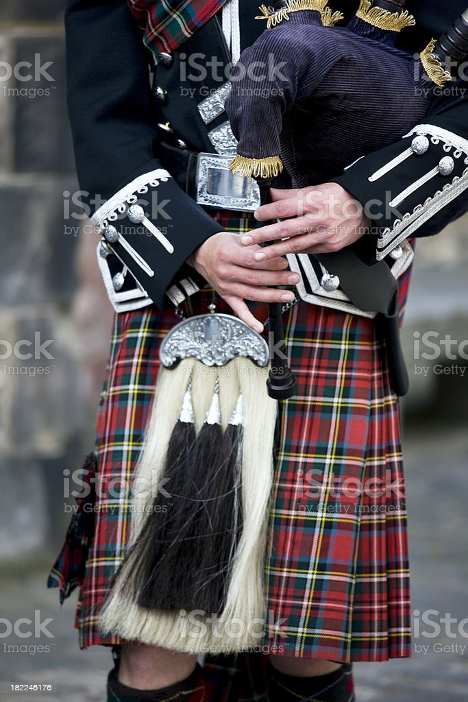 playing the Scottish bagpipe stock photo