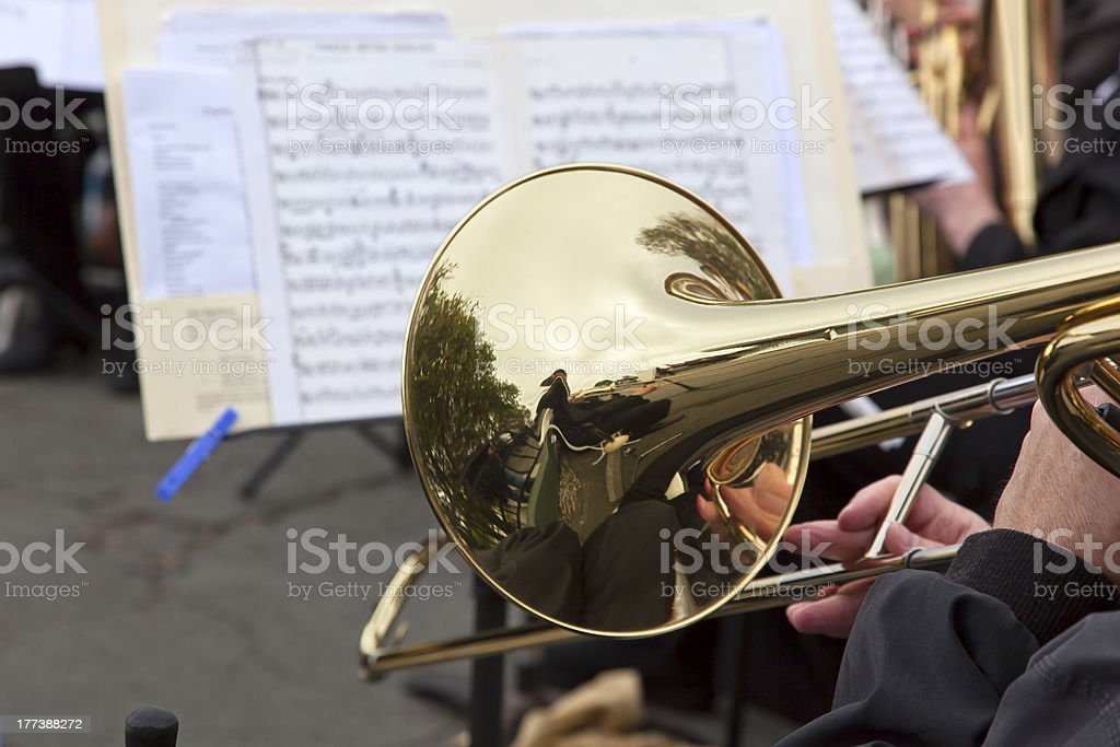 Playing the Slide Trombone stock photo