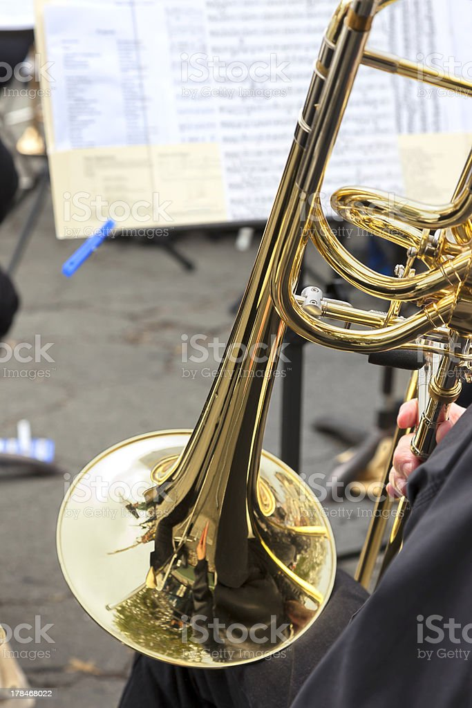 Playing the Slide Trombone royalty-free stock photo
