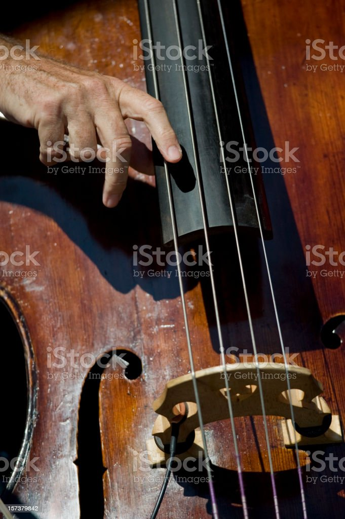 Playing the Stand-Up Double Bass stock photo