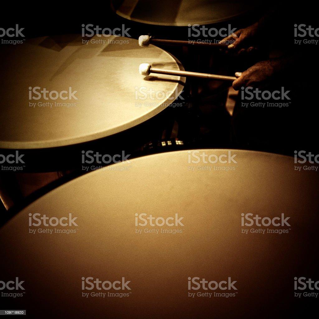 playing the timpani stock photo