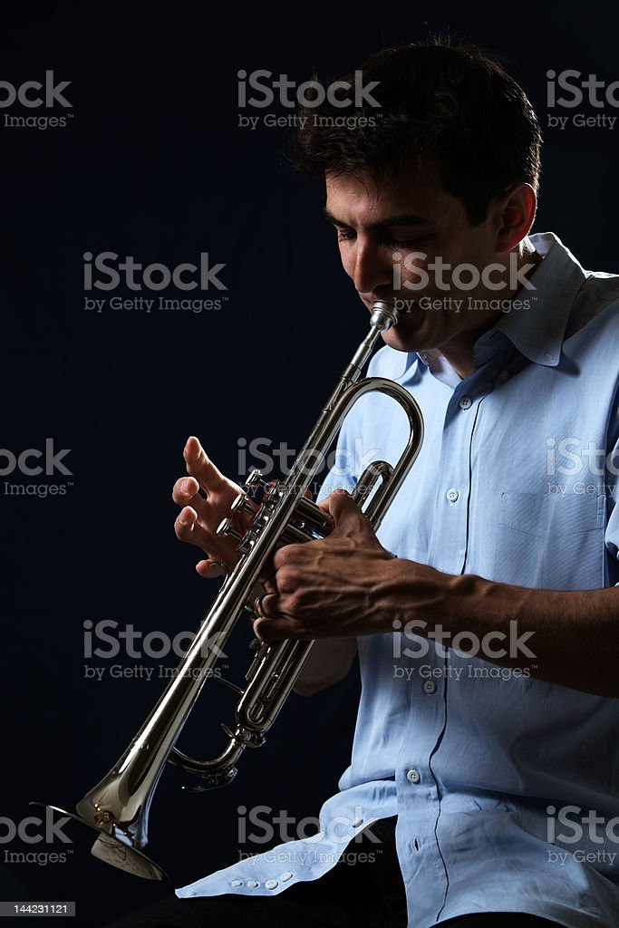 Playing the trumpet royalty-free stock photo