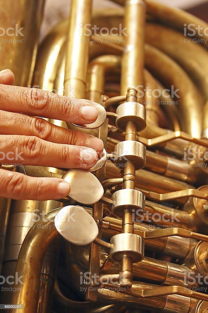 Playing the tuba royalty-free stock photo