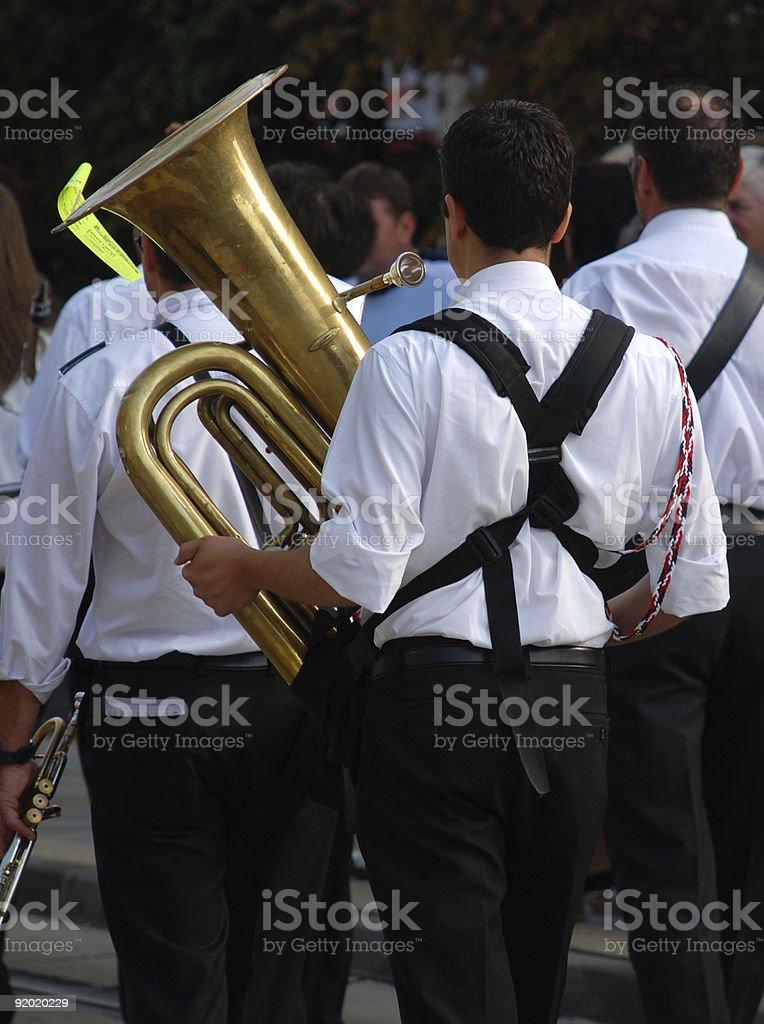 playing the tuba stock photo