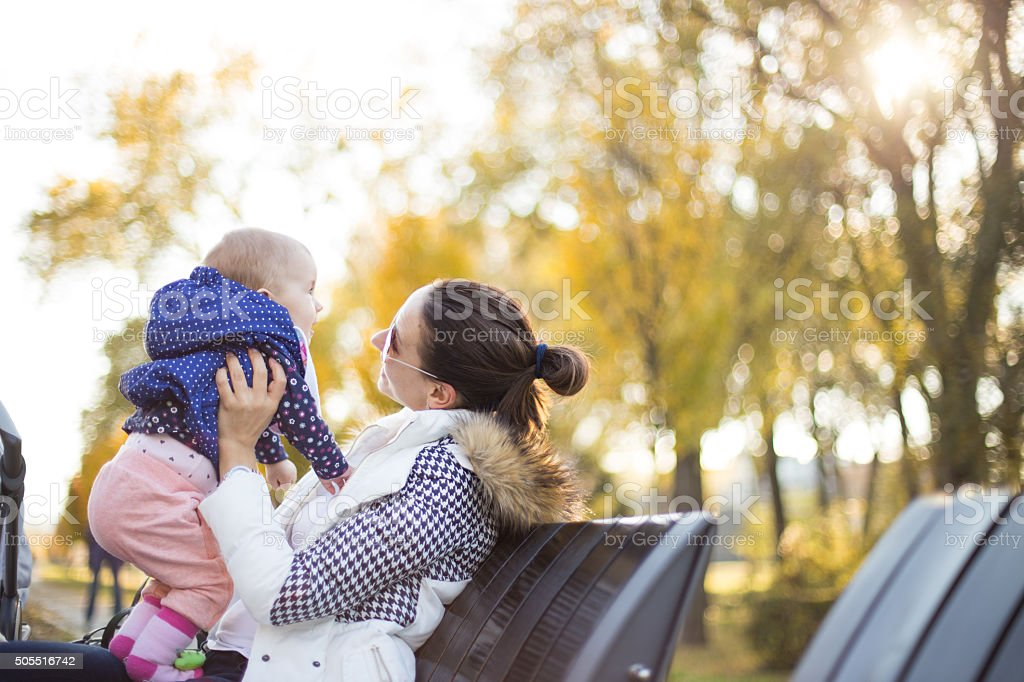 Playing time with babysitter stock photo