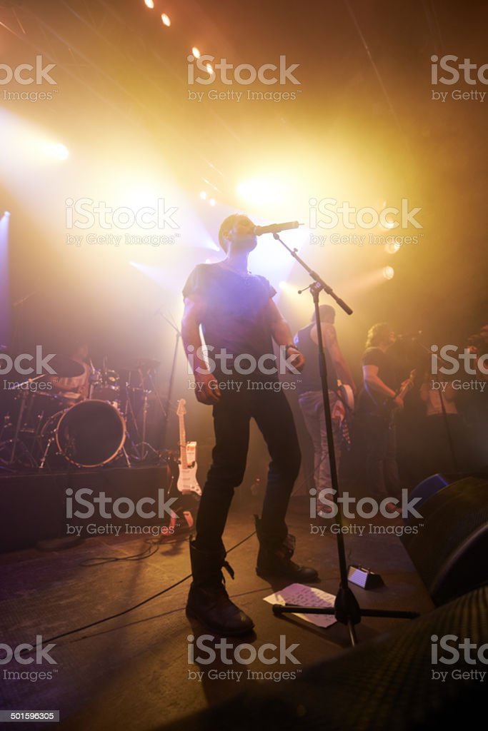 Playing to the adoring fans stock photo