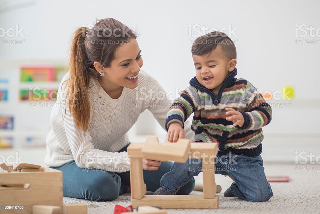 Playing Together on Mother's Day stock photo
