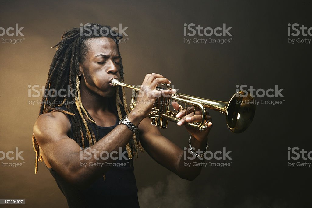 Playing Trumpet stock photo