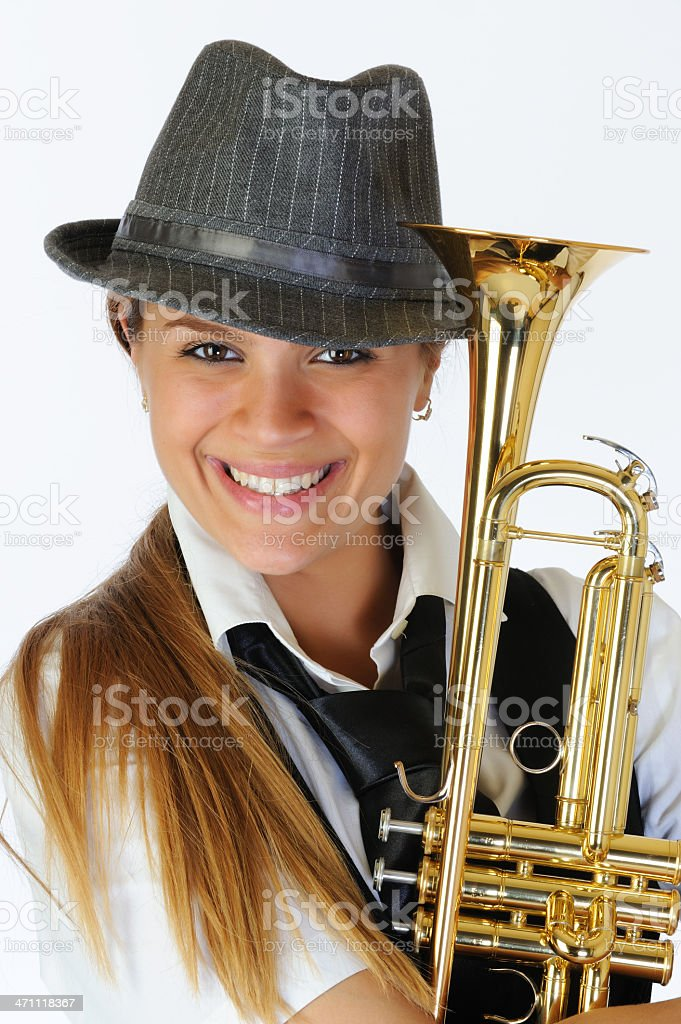 Playing trumpet royalty-free stock photo