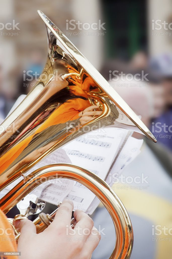 Playing tuba stock photo