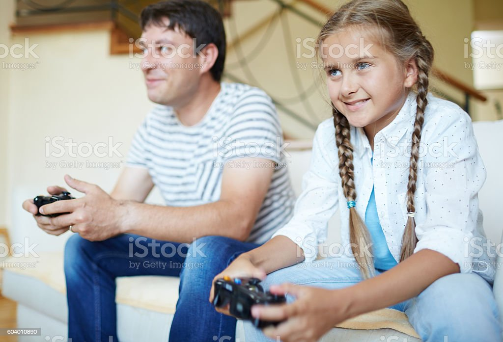Playing video game stock photo