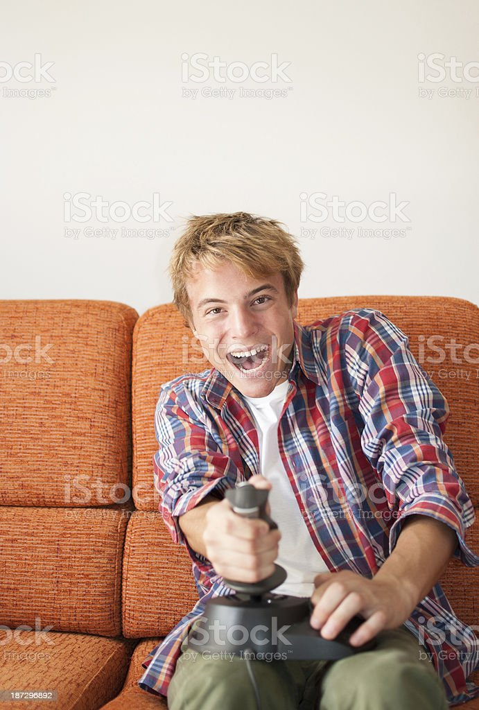 Playing video games royalty-free stock photo