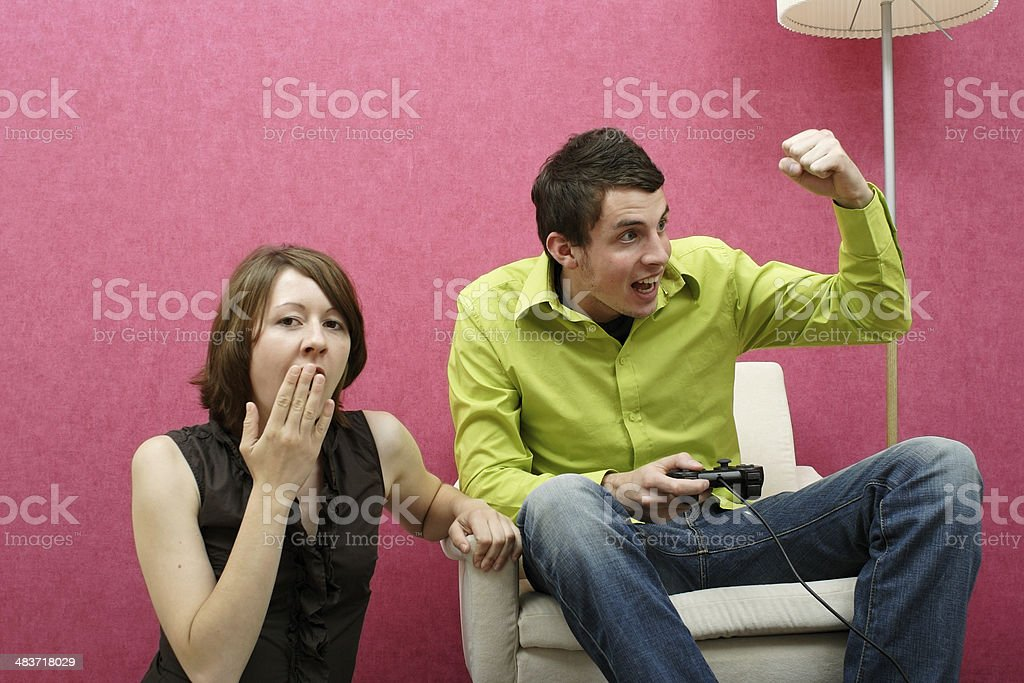 Playing Videogame stock photo