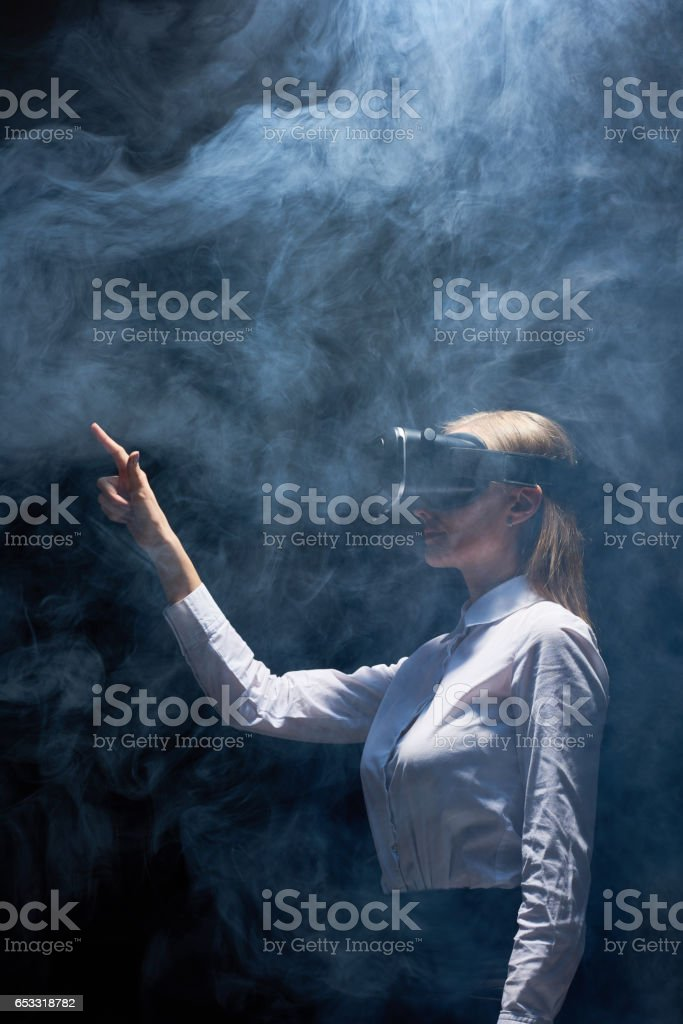 Playing virtual game stock photo