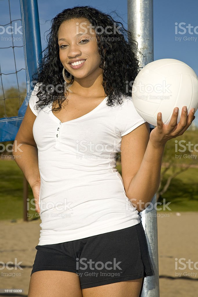 Playing volleyball stock photo