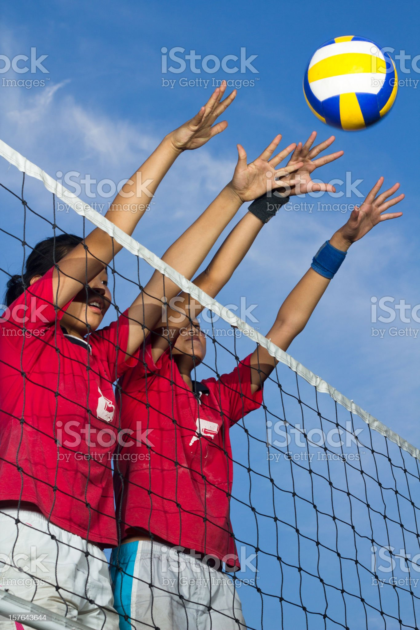 playing volleyball royalty-free stock photo