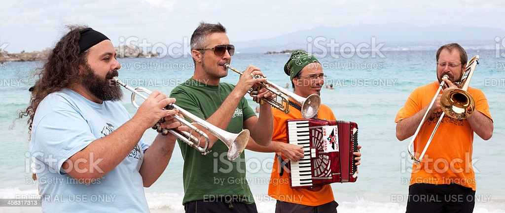 Playing wind instruments stock photo