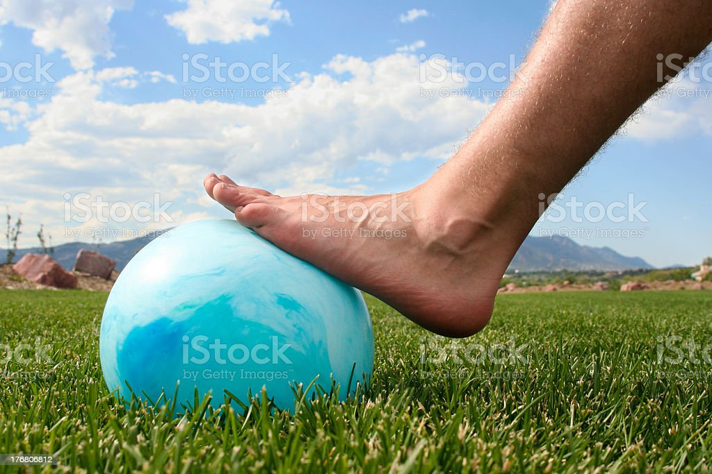 Playing with a ball stock photo