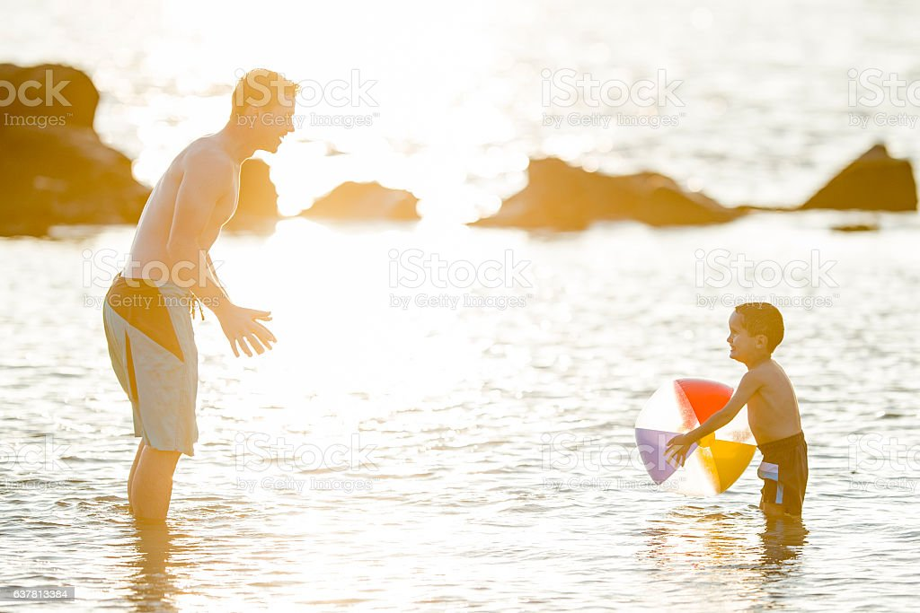 Playing with a Beach Ball stock photo