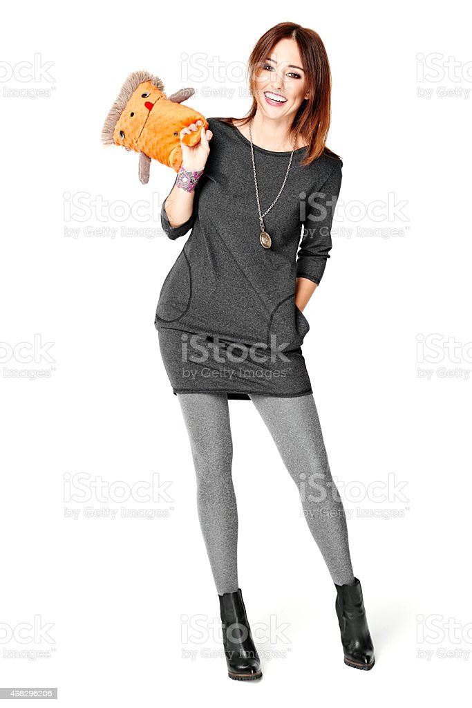 Playing With A Mascot stock photo