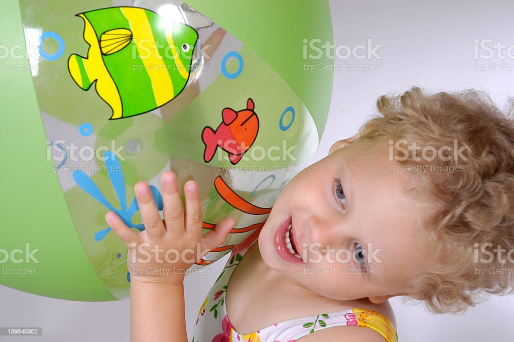 playing with beach ball royalty-free stock photo