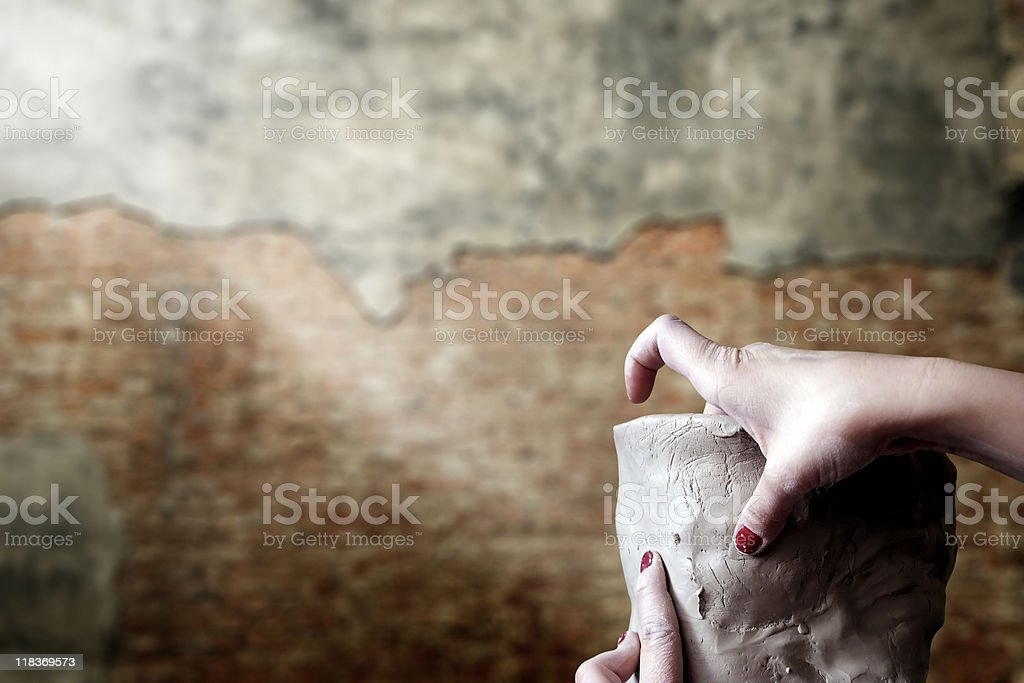 playing with clay royalty-free stock photo