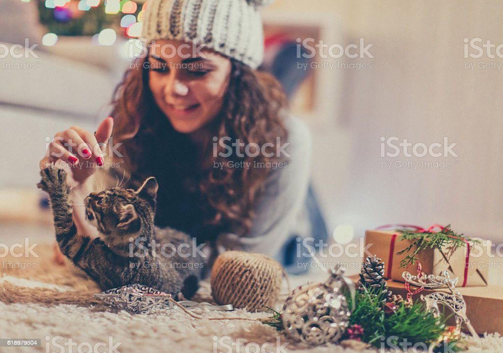 Playing with her cat for Christmas stock photo