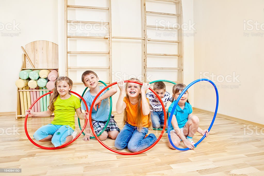 Playing with hula hoops royalty-free stock photo