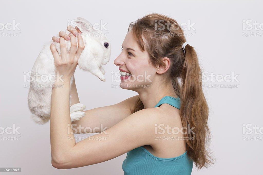 Playing with little bunny! stock photo
