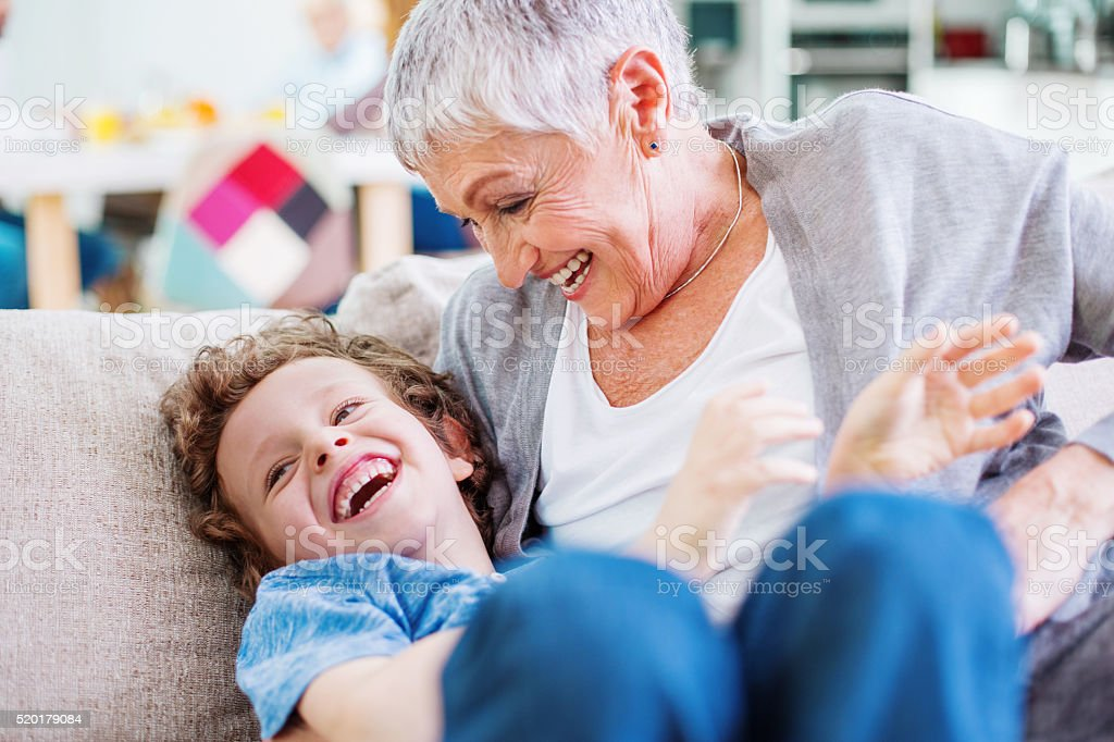 Playing with my grandson stock photo