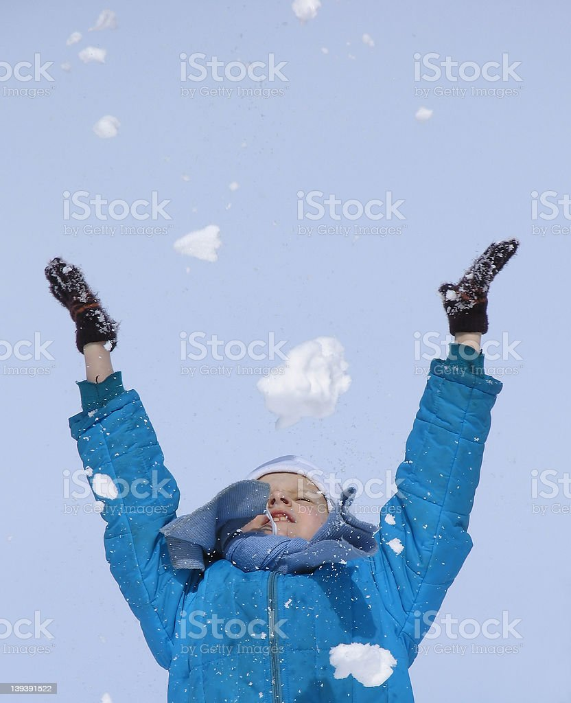 Playing with snow royalty-free stock photo