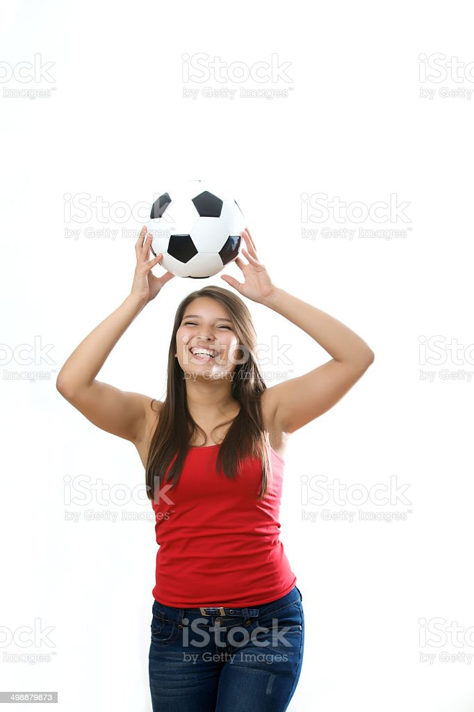 Playing with soccer ball royalty-free stock photo